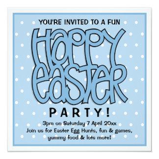 Convite de festas do azul do felz pascoa
