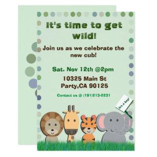 Convite de festas do bebê do safari