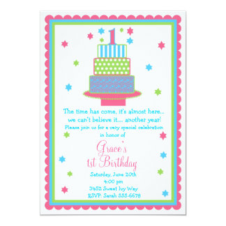 Convite de festas do bolo de primeiro aniversario