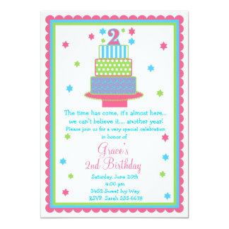 Convite de festas do bolo de segundo aniversário