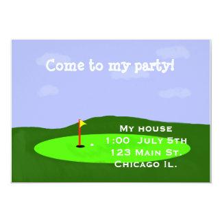 Convite de festas do campo de golfe convite 12.7 x 17.78cm