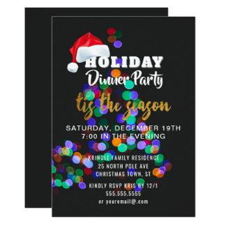 Convite de festas do comensal das luzes da árvore