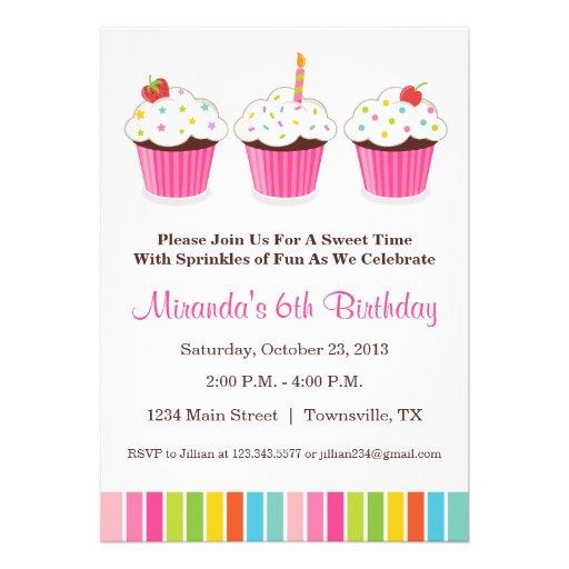 Convite de festas do cupcake