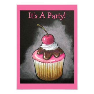 Convite de festas do cupcake: Arte original