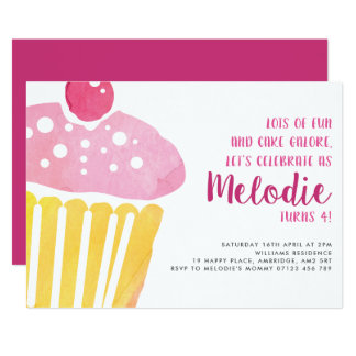 Convite de festas do cupcake do aniversário da