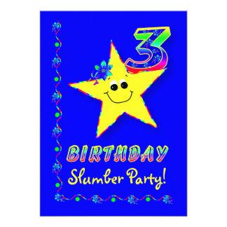 Convite de festas do descanso do aniversário de 3
