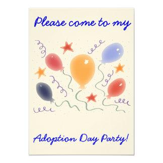 Convite de festas do dia da adopção dos balões