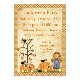 Convite de festas do Dia das Bruxas do espantalho