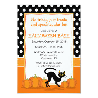 Convite de festas do Dia das Bruxas do gato preto