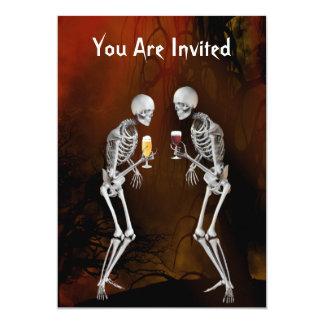 Convite de festas do Dia das Bruxas dos esqueletos
