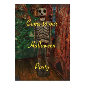 Convite de festas do Dia das Bruxas - esqueleto