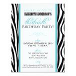 Convite de festas do doce 13 do impressão da zebra convite 10.79 x 13.97cm
