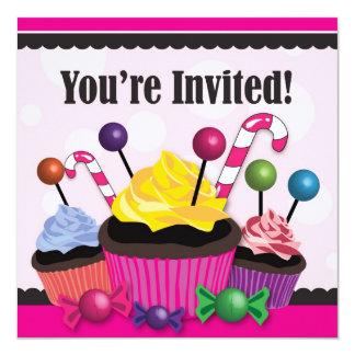 Convite de festas do doce dos doces e do cupcake convite quadrado 13.35 x 13.35cm