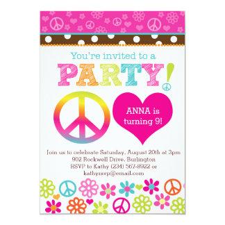 Convite de festas do Hippie da paz e do amor