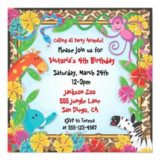 festas aniversario jardim zoologico maia:Zoo Jungle Party Invitation