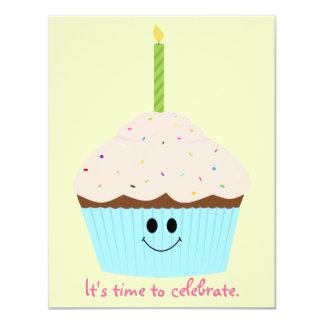 Convite de festas do modelo da foto do cupcake