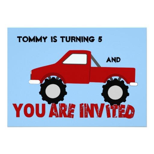 Convite de festas do monster truck