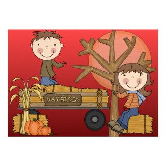 Convite de festas do outono do passeio do feno (me