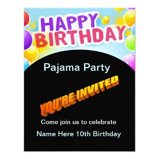 Convite de festas do pijama do feliz aniversario