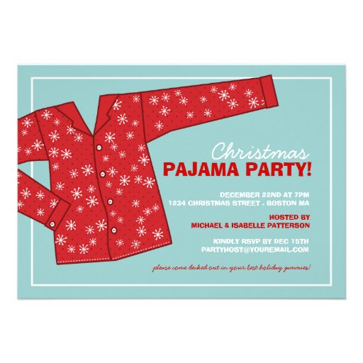 Convite de festas do pijama do feriado do Natal
