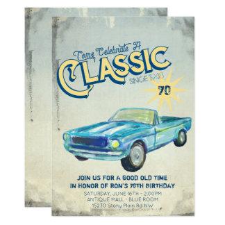Convite de festas do poster da garagem do vintage
