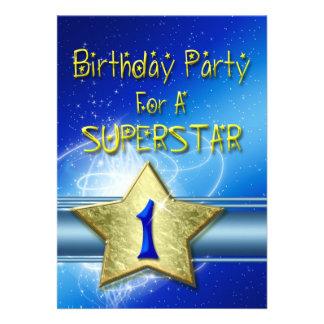 Convite de festas do primeiro aniversario para um