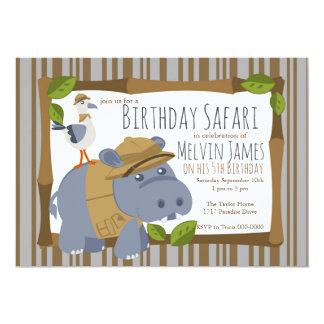 Convite de festas do safari do hipopótamo