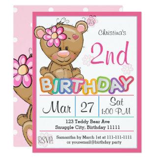 Convite de festas do segundo aniversário do urso