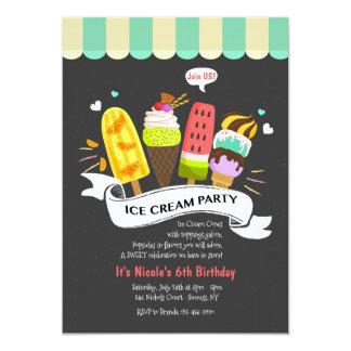 Convite de festas do sorvete do verão