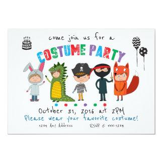 Convite de festas do traje dos miúdos