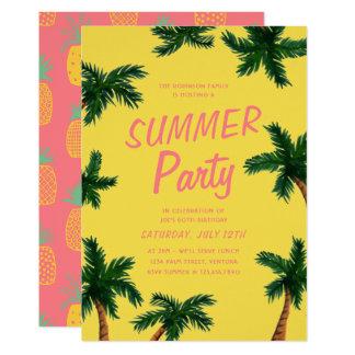 Convite de festas do verão da palmeira