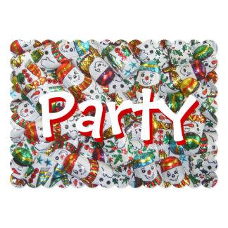 Convite de festas doce dos bonecos de neve