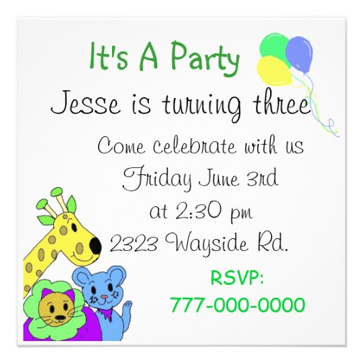 festa jardim zoologico : festa jardim zoologico:Zoo Birthday Party Invitation
