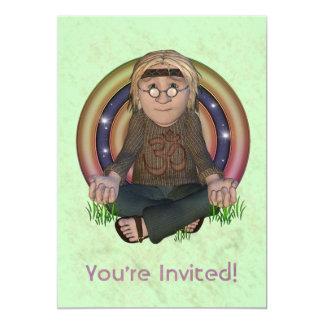 Convite de festas dos anos 60 do hippy grande convite 12.7 x 17.78cm