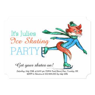 Convite de festas engraçado do Fox do patinagem