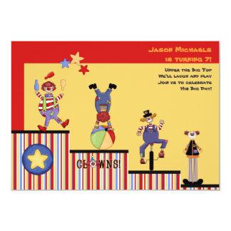 Convite de festas engraçado dos palhaços convite 12.7 x 17.78cm
