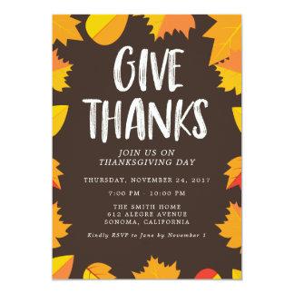 Convite de festas escrito à mão da acção de graças