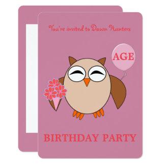 Convite de festas feito sob encomenda da coruja do