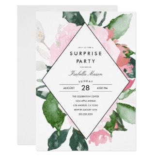 Convite de festas floral cor-de-rosa da surpresa