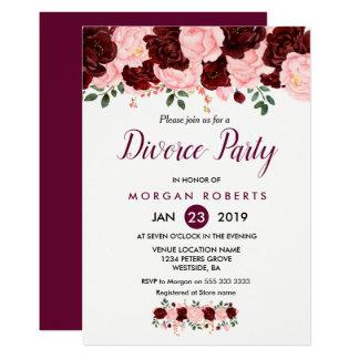 Convite de festas floral do divórcio do rosa & da