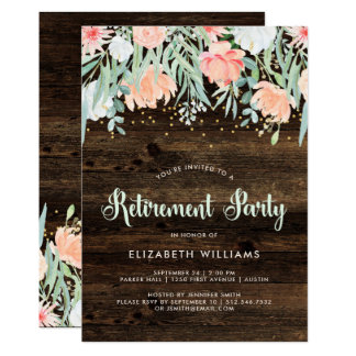 Convite de festas floral rústico da aposentadoria