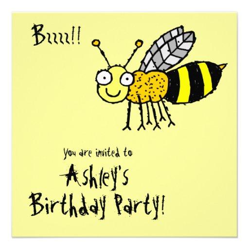 Convite de festas Funky da abelha do mel da fazend