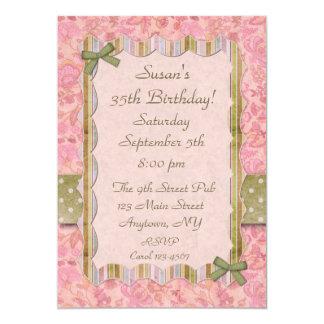 Convite de festas gasto floral cor-de-rosa
