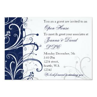 Cartão convite de festas incorporado do marinho elegante