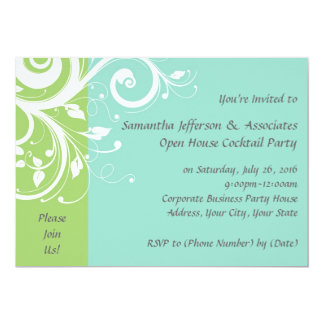 Convite de festas incorporado do redemoinho verde