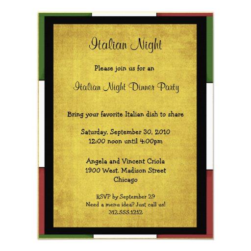 Convite de festas italiano da noite