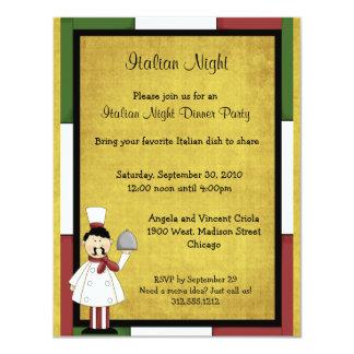 Convite de festas italiano do comensal da noite