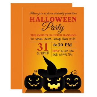 Convite de festas mau do Dia das Bruxas de três