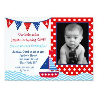 Convite de festas náutico do primeiro aniversario