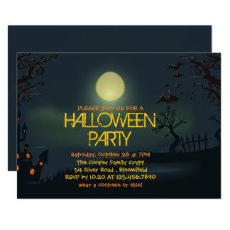 Convite de festas pálido do Dia das Bruxas da lua